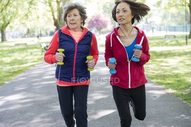 Amis de femmes seniors actifs jogging avec des poids de la main dans le parc — Photo de stock