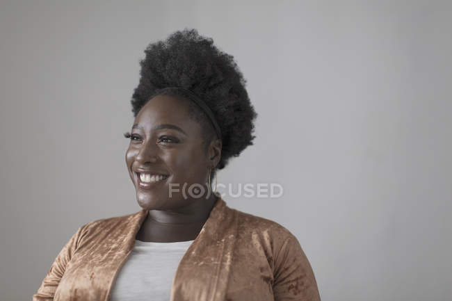 Portrait smiling, confident woman looking away — Stock Photo
