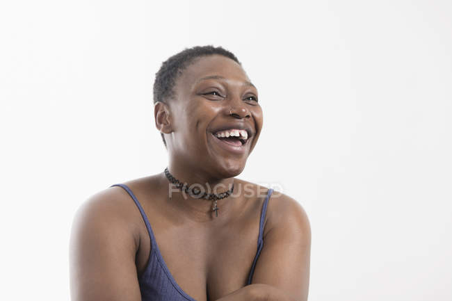 Portrait laughing, carefree woman — Stock Photo