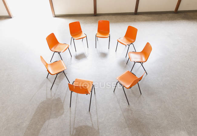 Circle of chairs ready in community center — Stock Photo