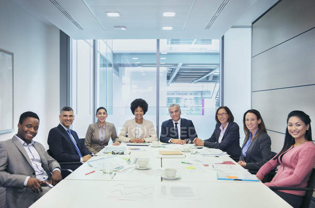 Portrait confident business people in conference room meeting — Stock Photo