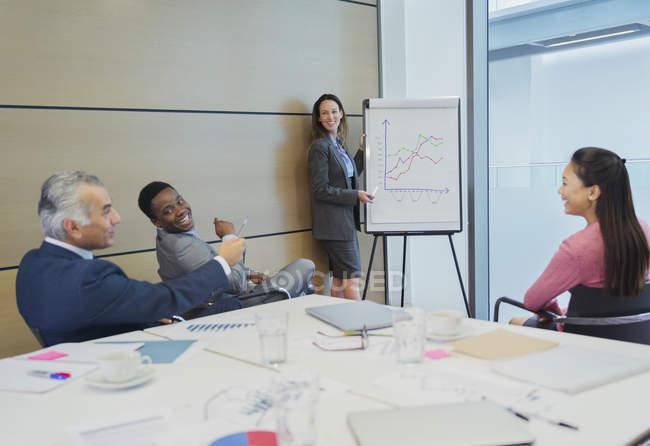 Smiling businesswoman at flip chart leading conference room meeting — Stock Photo