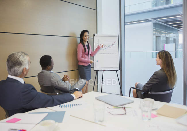 Businesswoman at flip chart leading conference room meeting — Stock Photo