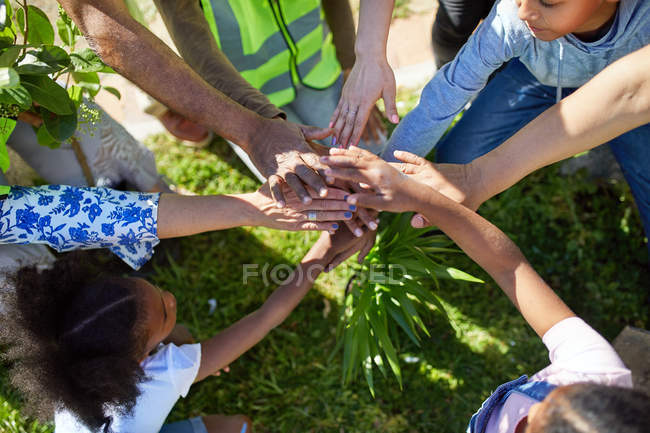 Volunteers joining hands, planting trees in park — Stock Photo