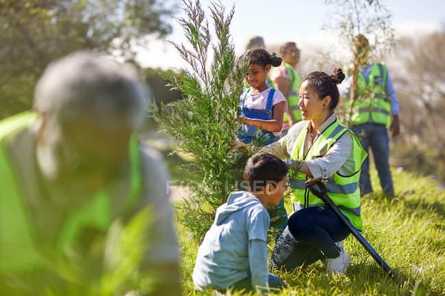 Volontaires femmes et enfants plantant des arbres dans un parc ensoleillé — Photo de stock