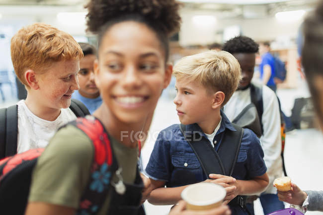 Junior high students hanging out — Stock Photo