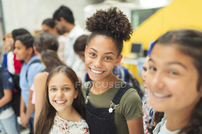 Portrait of confident junior high students — Stock Photo