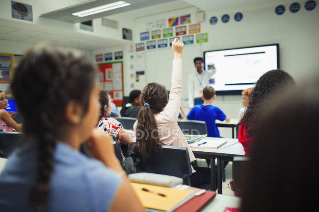 Studente delle scuole medie alzando la mano, ponendo una domanda durante la lezione in classe — Foto stock