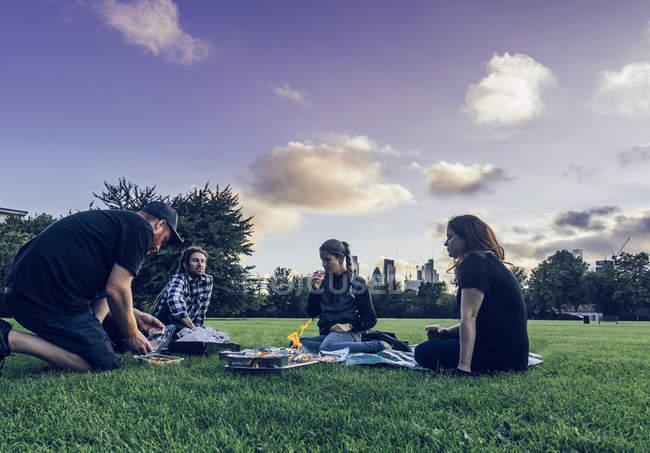 Friends enjoying picnic in park — Stock Photo