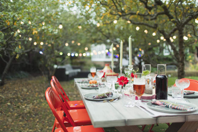 Dinner garden party table — Stock Photo