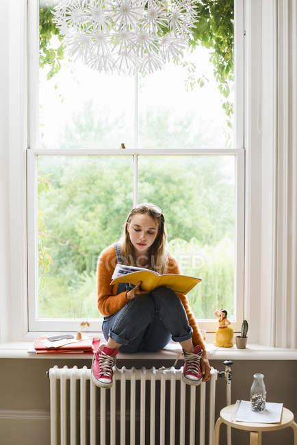 Focada jovem estudante universitário do sexo feminino estudando na janela — Fotografia de Stock