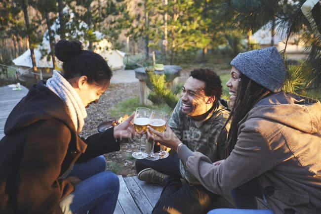 Amigos felizes brindando copos de vinho no acampamento na floresta — Fotografia de Stock
