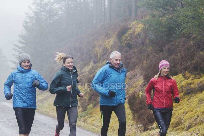 Семейная пробежка в лесу — стоковое фото