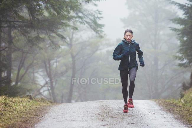 Mujer corriendo en bosques lluviosos - foto de stock