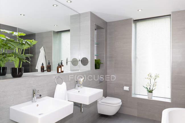 Modernes grau-weißes Badezimmer mit doppelter Eitelkeit — Stockfoto