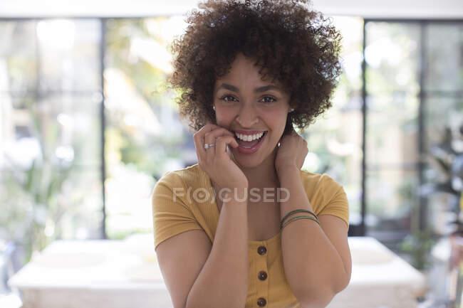 Portrait happy confident young woman — Stock Photo