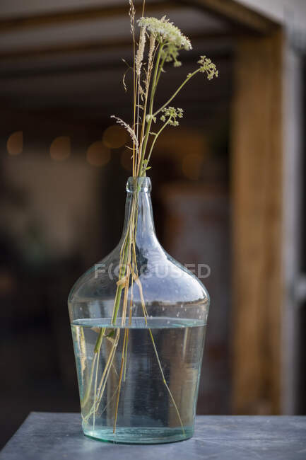 Rustic flowers in clear glass vase — Stock Photo
