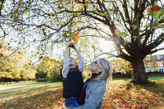 Hija criadora de madres sin cuidado que llega a la hoja de otoño en un parque idílico. - foto de stock