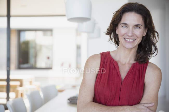 Portrait confident, smiling brunette woman — Stock Photo