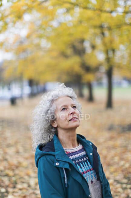 Ragionevole donna anziana guardando gli alberi autunnali nel parco — Foto stock