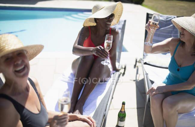 Щасливі старші жінки, які п'ють шампанське на літньому полі. — стокове фото