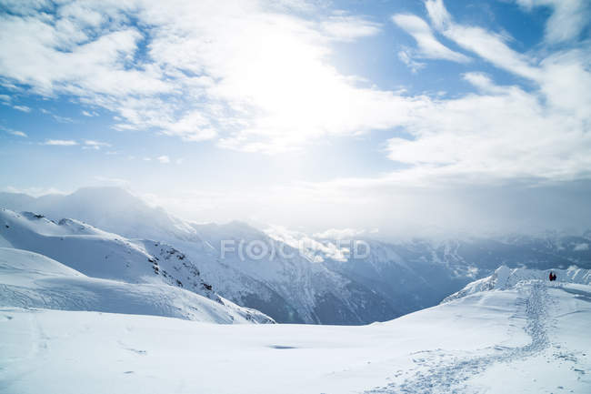Snow covered mountains in the French Alps, France — Stock Photo