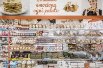 April 13, 2017. Italy, Milan. Sweets and candies on store shelves — Stock Photo