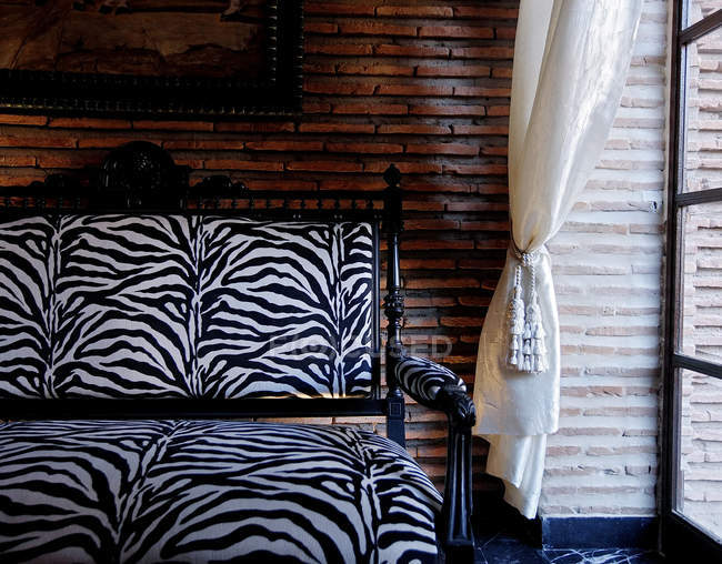 Morocco Marrakesh Marrakech Hotel Sofa And Curtain By Window Stock Photo