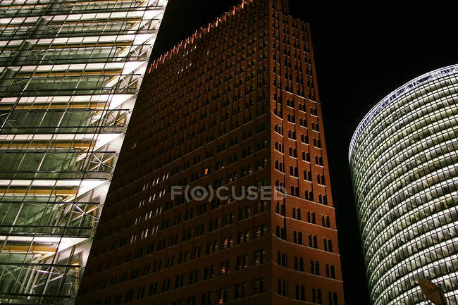 Berlin, Potsdamer Platz. Lightened skyscrapers at night — Stock Photo