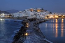 Greek island naxos with white houses at night — Stock Photo