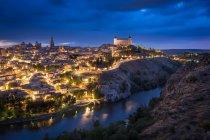 Toledo city, historic spanish architecture illuminated at night — Stock Photo