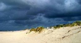 Nuvem de tempestade acima arenosa Praia do mar do Norte — Fotografia de Stock