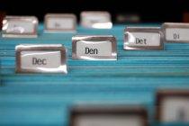 Arquivo cartões de índice azul, caixa de arquivamento — Fotografia de Stock