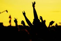 Happy people dancing on concert with hands raised — Stock Photo
