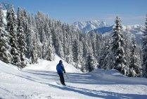 Зимовий спорт лижників на лижних схилах снігом покриті гори — стокове фото