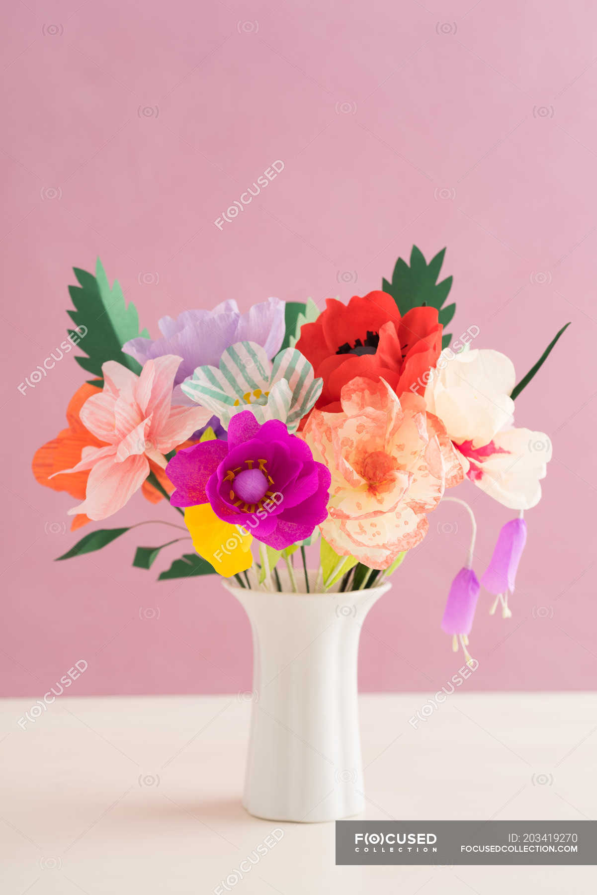 Creative Colorful Paper Flowers Bouquet In Vase Pink Background