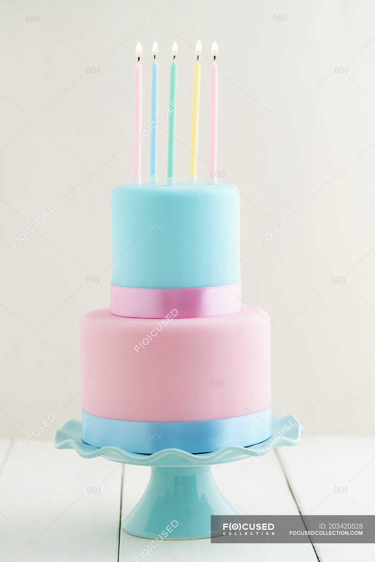 Phenomenal Birthday Cake With Candles Pastel Colors Bakery Burning Personalised Birthday Cards Beptaeletsinfo
