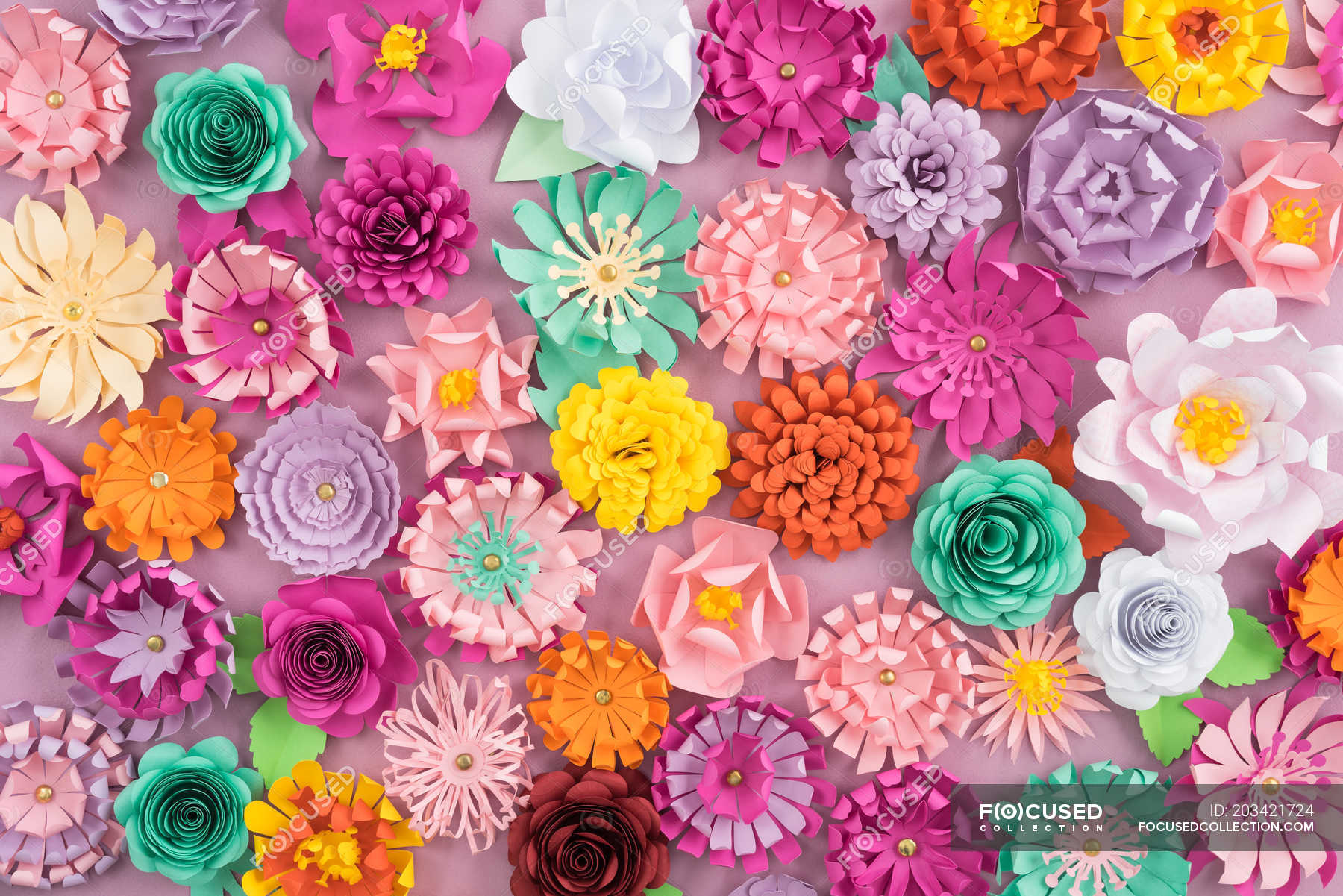 Creative Colorful Paper Flowers Full Frame Stock Photo 203421724