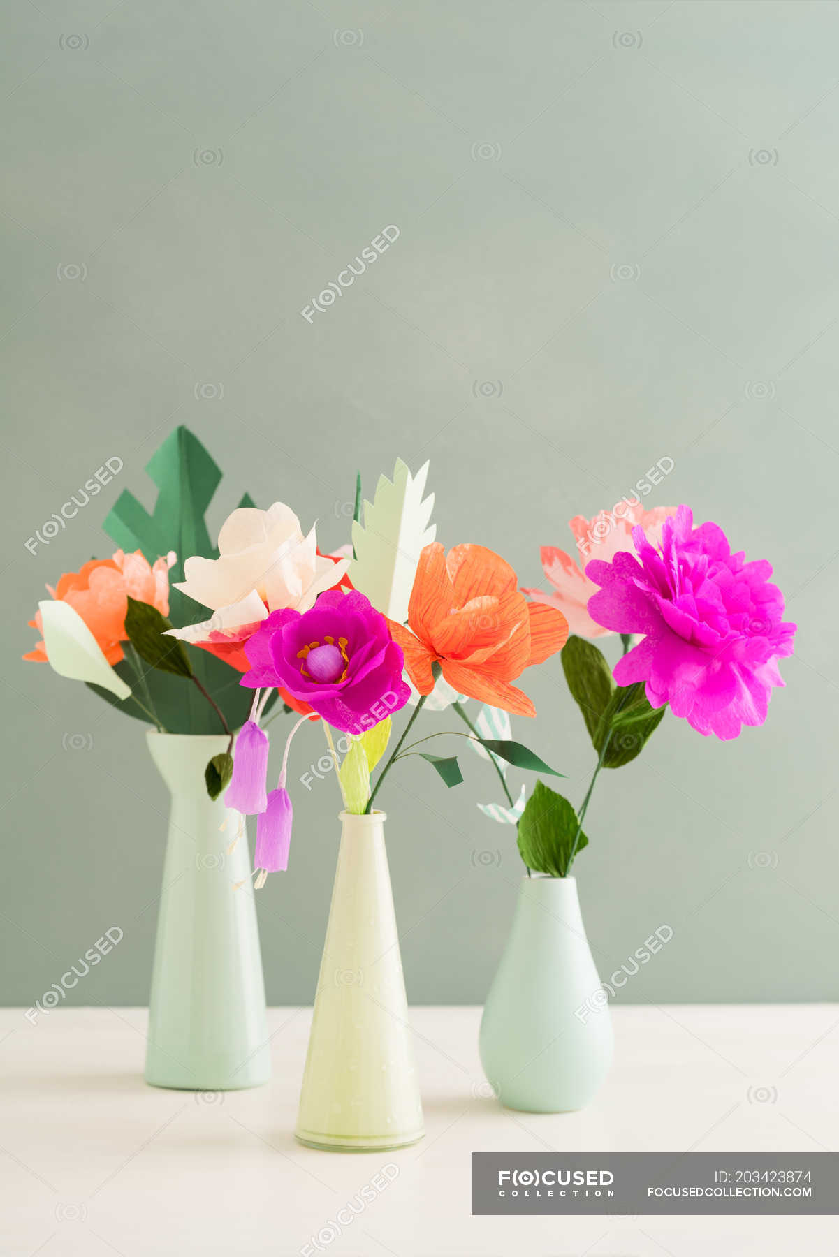 Creative Colorful Paper Flowers In Vases Stock Photo 203423874
