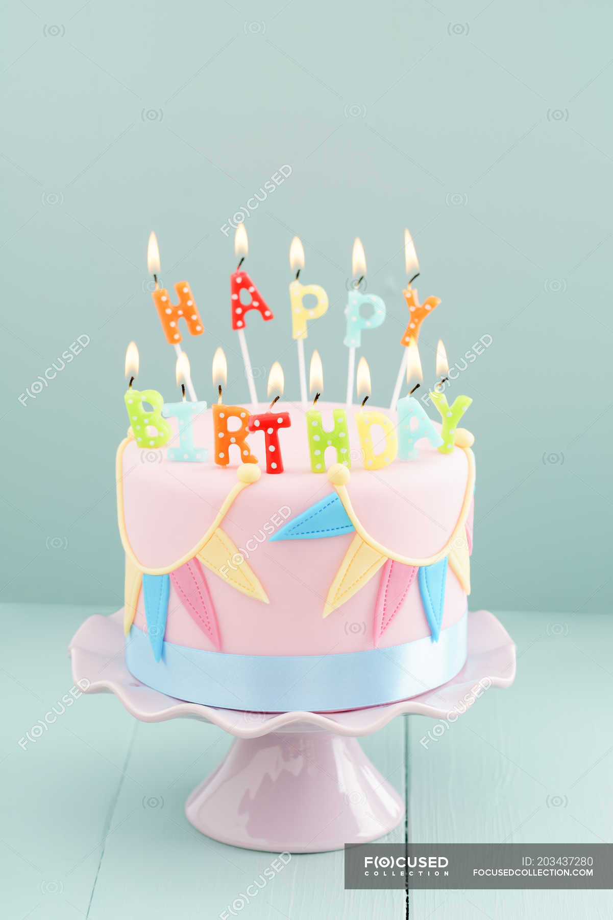 Wondrous Pastel Colors Birthday Cake Happy Birthday Burning Candles Personalised Birthday Cards Cominlily Jamesorg