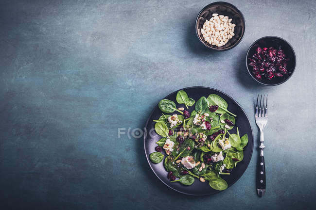 Green spinach salad with feta cheese in plate — Stock Photo
