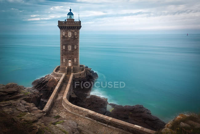 Lighthouse Phare de Kermorvan, brittany — Fotografia de Stock