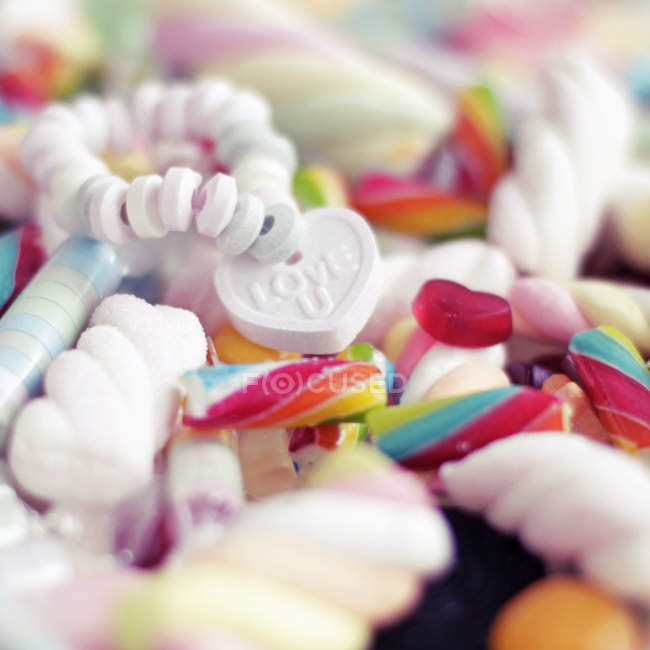 Sugar pearls candies, candy beads and sweetmeats — Stock Photo