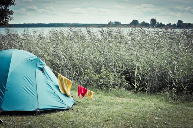 Été déposée avec herbe et lac, bleu tente de camping en pré — Photo de stock