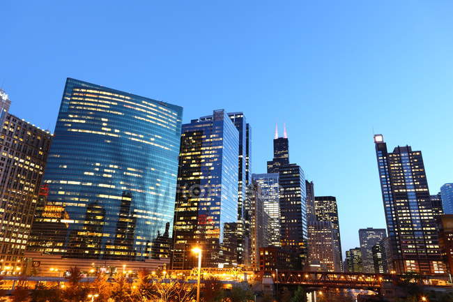 Chicago city buildings at night — Stockfoto