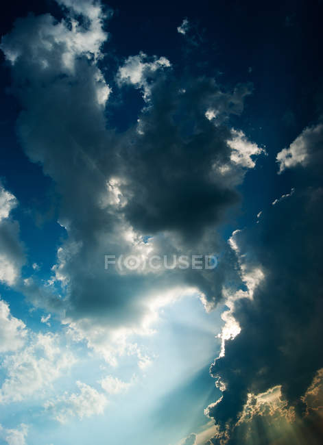 Clouds cape, sunbeams in sky with clouds — Stock Photo