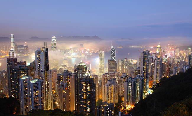 Vue sur la ville sur hong kong, bâtiments de l'île de hong kong — Photo de stock