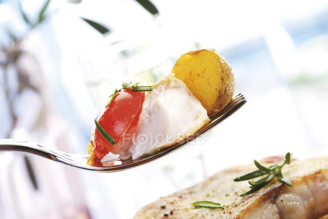 Stück Nilbarschfilet auf Gabel mit Kartoffeln und Tomaten — Stockfoto