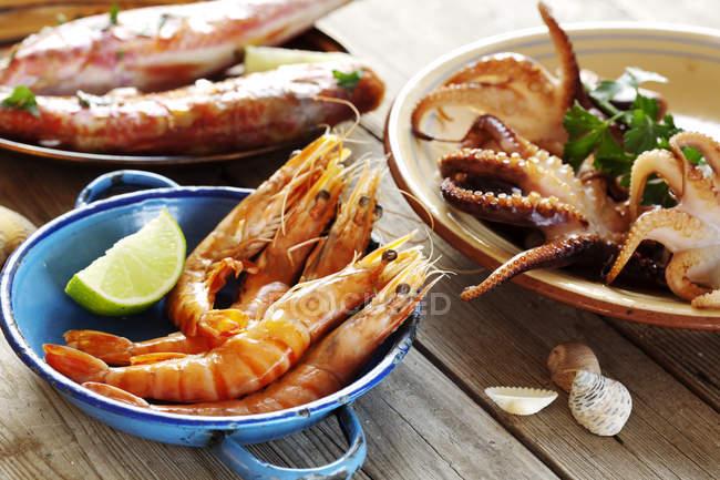 Закуски из морепродуктов кальмаров, рыбы и креветки на пластины — стоковое фото