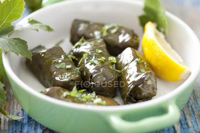Середземноморська dolmades, фарширований в рулонах миску з лимоном — стокове фото